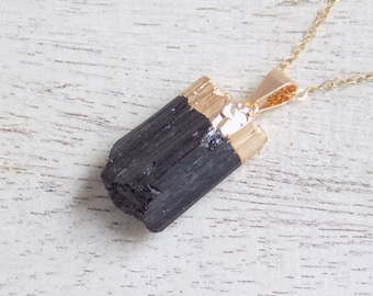 Gift For Her, Raw Tourmaline Necklace, Black Tourmaline Necklace, Gold Tourmaline Necklace, Tourmaline Pendant, Layering Necklace, 10-1087