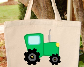 Tractor Tote Bag  Green tractor Canvas Tote Bag