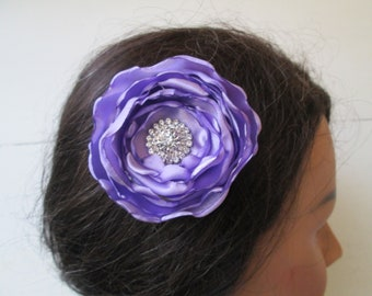 Lilac Purple Bridal Hair Flower, Purple Rose Wedding Hair Clip, Blusher - Bandeau- Birdcage Veil, Rustic- Vintage- Country Bride