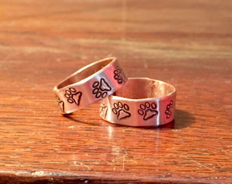 Dog paw ring, copper dog paw ring, dog lover gift, copper ring, dog, paw print ring, copper dog paw, copper