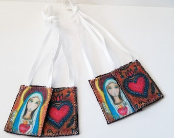Immaculate Heart of Mary - Set of 2 Scapulars -   Handmade - Original Art by FLOR LARIOS