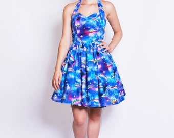 UFO dress-Alien, Space, Galaxy, Roswell, Conspiracy theory, Xfiles, Pastel, 90s, Womens halterneck