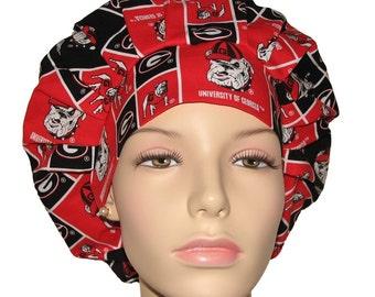 Scrub Caps-University Of Georgia Bulldogs Block Fabric-Scrub Hats-Surgical Hat-Surgical Caps-Scrub Hats For Women-ScrubHeads-Bulldogs