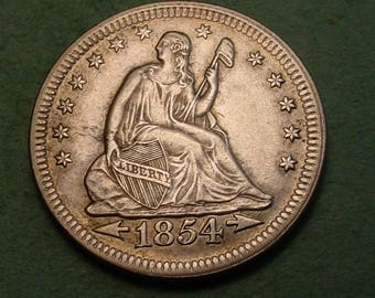 1854 Seated Liberty Quarter AU Nice<> Insurance Included in SH , Coin you see is the Coin you get <> # ET6001