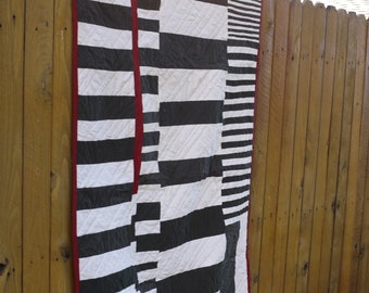 Modern, Simple Lap Quilt.  Hand Quilted. OOAK. Ready to Ship.