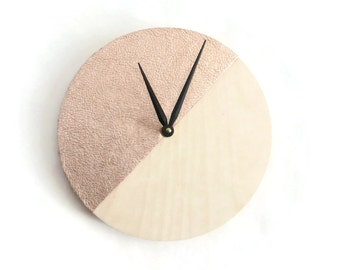 Rose Gold Natural Wood Clock, Wall Clocks,  Wall Hanging, Leather Gift Idea