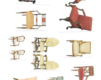 CHAIR Antique COLLAGE Sheet Vintage Clip Art Image Download Printable Graphic Transfers Printing HQ 300DPI