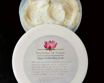 Peppermint Blast BodyScrub Essential Oils Zingy Cooling Refreshing Cleansing Moisturising Vegan  SeaSalts Grounding Mother's Day Valentines