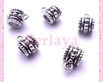 Set of 25 clasps REF1940X5 silver charms