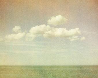 Nautical ocean sea waves beach nature clouds seaside maine green pastel modern surreal