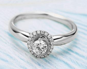 0.25 carat Forever Classic Moissanite Halo Engagement ring in 14k white gold, Bridal Ring,Diamond Alternative engagement ring