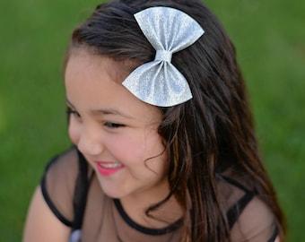Silver Hair Bows, Silver Glitter Bows, Silver Glitter Hair Bows, Silver Accessories, Silver Hair Clips, Silver Bow Clips, Silver Fancy Bows