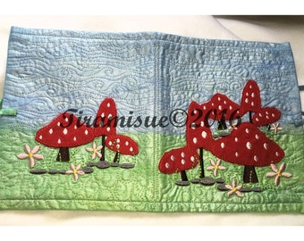 Toadstool Machine Embroidery Design for 130x180mm (5x7inch Hoop)  Multiple Hooping Two Parts