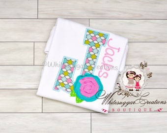 Shabby Rose Alphabet Shirt - Custom Shirt - Baby Girl Shirt - Shabby Rose Embroidered Shirt