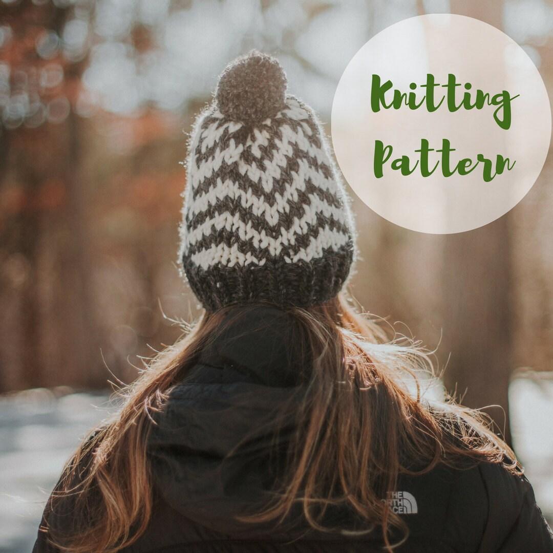 KNITTING PATTERN / / The Cedar Chevron Hat / / Knit Hat, Hat ...