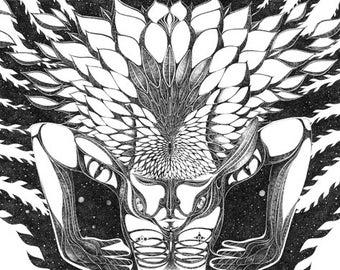Cosmic lotus / Artprint / Illustration / Psychadelic / Hallimash