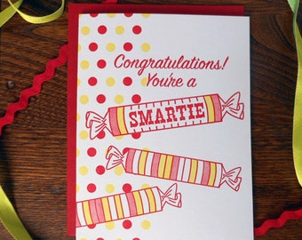 letterpress congratulations! you're a smartie graduation greeting card smarties candy grad you're so smart