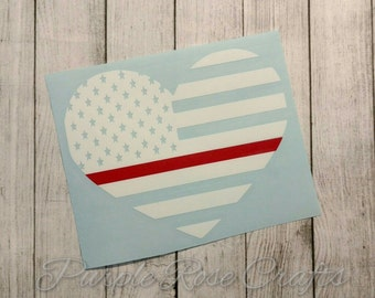 Thin Red Line Flag Heart Fireman Firefighter Decal Sticker Cling - Window - Car - Cup - Laptop - Computer - Tablet - Tumbler