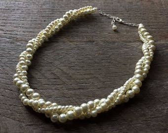 Ivory Pearl Necklace, Bridal Necklace, Wedding Necklace, Pearl Bridal Twisted Necklace, Gift for Her on Silver or Gold Chain