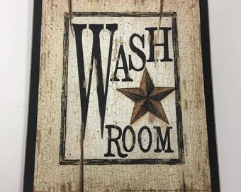 Wash room country bath wood sign outhouse bathroom decor decorations