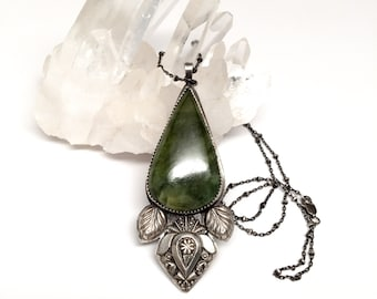 Sterling Silver and Jade Necklace// Mori Jewelry// forest girl// gift for her// healing jewelry// bohemian adornment//
