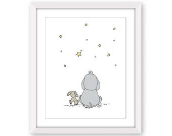 Elephant and Bunny Nursery Art -- Make A Wish With Me -- Elephant Nursery Art -- Kids Wall Art -- Children Art -- Star Nursery Art