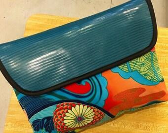 "14"" Envelope Clutch Bag,  Asian Floral Print  Fabric Laptop Sleeve, Portfolio Bag"