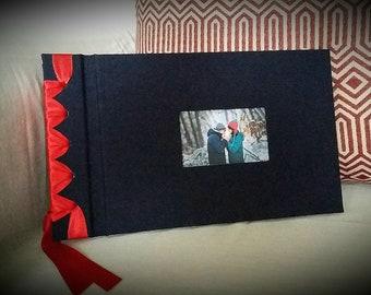 Handmade, personalised self mount, ribbon bound photo album.