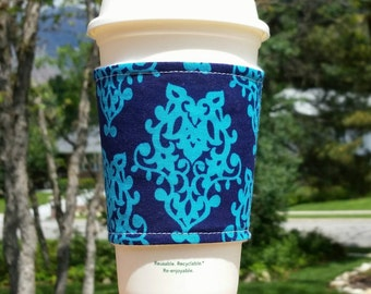 FREE SHIPPING UPGRADE with minimum -  Fabric coffee cozy / cup sleeve / coffee sleeve / cup cozy / Teal on Navy Damask