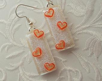 Heart Earrings - Valentine Earrings - Dichroic Fused Glass Earrings - Heart Jewelry - Stick Earrings - Heart - Orange Earrings X3168