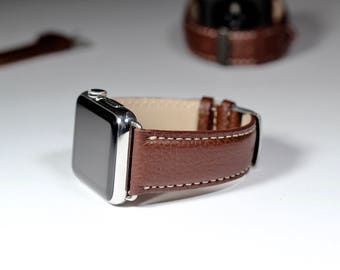 Apple Watch Band 38mm-Brown Burnt Cow-hide Italian Leather Handmade in Italy Apple Watch Series (38mm and 42mm Apple Watch strap)