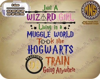 Hogwarts Wizard Girl (Harry Potter Theme) embroidery design. Harry Potter Machine Embroidery Design. Instant download. #002-34