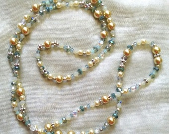 Ivory and Smoky Blues Necklace