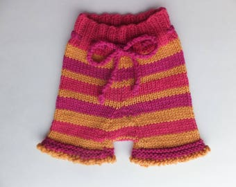 Hand Knitted Wool Shorties, Wool Diaper Cover, Wool Baby Pants, Size Newborn