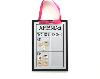 AM/PM Chore Chart - 13 x 9  Magnet Board - Personalized Chore Board - Magnetic Chore Chart - With Optional Magnets