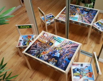 chaises et table sur mesures et personnalisés enfants