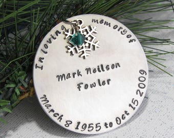 Memorial Ornament - Rememberance Keepsake - Hand Stamped - In Loving Memory - Round