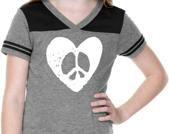 Girl's Hippie Heart Peace Football Tee HEARTPEACE-GJP0604
