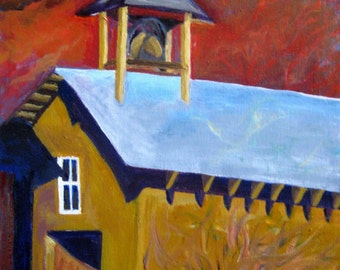 Adobe architecure painting, Original Oil Painting New Mexico Church, oil painting adobe architecture