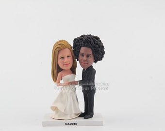 Rustic Wedding Cake Topper - Personalized Mr Mrs Cake Topper - Custom Wedding Cake Topper, Rustic  Cake Topper for Wedding -bobblehead dolls