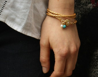 Womens Wrap Leather Bracelet / Gold Leather Bracelet / Triple Wrap Bracelet with Turquoise and Pearl / Kim