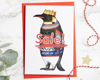 Penguin in a Classic Christmas Jumper Card: A6 Birds in Hats Christmas Card, Penguin card, tacky jumper