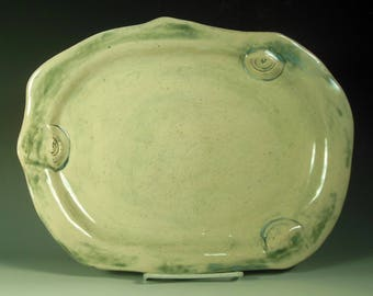 Large Stoneware Platter with Spiral Accents