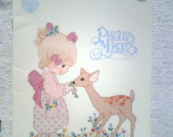 Vintage Precious Moments Cross Stitch Pattern Book PM30 ... Deer Friends