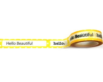 Yellow Hello Beautiful Washi Tape 11 yards 10 meters 15mm Hello. Hello Beautiful Letters Washi Tape