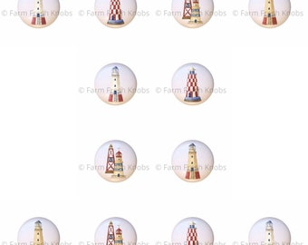 Set of 12 Nautical Beach Stuff Lighthouse Buoy Ceramic Drawer Pull Cabinet Knobs