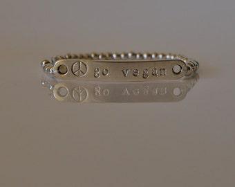 Go vegan and balls zamak engraved bracelet