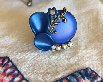 Royal blue vintage assemblage adjustable statement ring OOAK