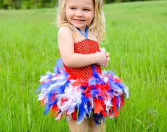 Patriotic, feather tutu dress, tutu, girls dress, girls tutu, feather tutu, clothing, girls clothing, girls costume, feather dress, costume