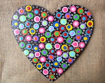 Wooden Heart Hand Painted Polka Dotted Heart painted wooden heart-Dotted heart-wooden heart-painted heart-polka dot heart
